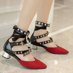 Buckle Straps Eyelets Pumps - RED 38