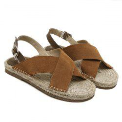 Suede Espadrilles Sandals - BROWN