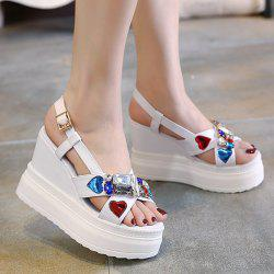 Rhinestones Heart Pattern Sandals - WHITE