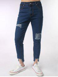 Embroidery Asymmetric Hem Distressed Jeans