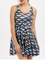 Sleeveless Fish Scale Print Mermaid Mini Dress