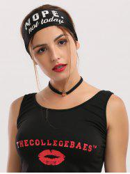 Letters Printed Athletic Elastic Wide Headband - BLACK