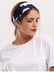 Elastic Showy Floral Printing Wide Headband - CADETBLUE