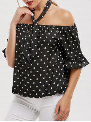 Polka Dot Chiffon Off The Shoulder Top