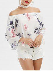 Off Shoulder Printed Chiffon Top