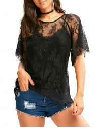 Raglan Sleeve Sheer Eyelash Lace Top - BLACK