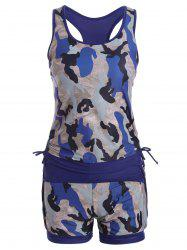 Sports High Waisted Camo Racerback Tankini Set