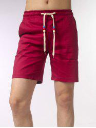 Wood Beads Embellished Drawstring Shorts