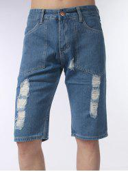 Zip Fly Distressed Jean Shorts