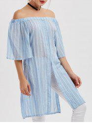 Stripe High Slit Off The Shoulder Mini Dress
