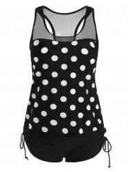 Racerback Plus Size Polka Dot Tankini Set - BLACK