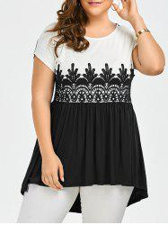 Lace Panel Plus Size High Low Top - BLACK