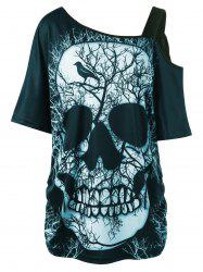 Plus Size Skull Skew Collar Long T-shirt