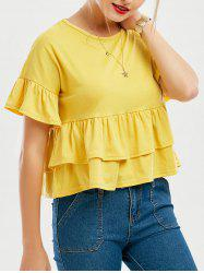 Flare Sleeve Layered Flounce Top
