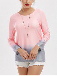 Long Sleeve Casual Ombre Tee