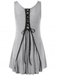 Lace Up High Low Hem Top - GRAY