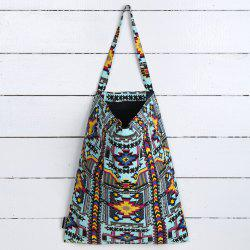 Canvas Ethnic Print Shopper Bag - TURQUOISE