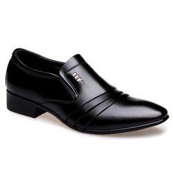 Pointed Toe Pleated Formal Shoes - BLACK