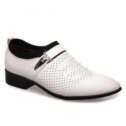 Pleated Breathable Formal Shoes - WHITE