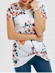 Floral Knotted T-Shirt - WHITE 2XL