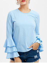 Ruffle Long Sleeve Top - LIGHT BLUE XL