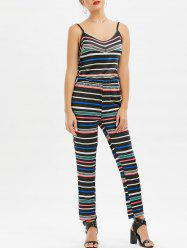 Spaghetti Strap Striped High Waist Jumpsuit
