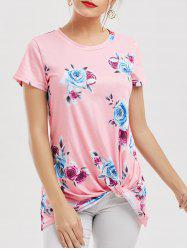 Floral Knotted T-Shirt - PINK XL