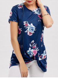 Floral Knotted T-Shirt - BLUE XL