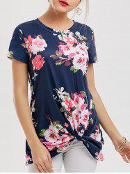 Floral Knotted T-Shirt - NAVY BLUE M