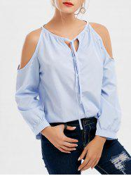 Open Shoulder Button Up Blouse