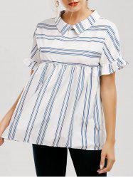 Peter Pan Collar Ruffle Sleeve Striped Blouse