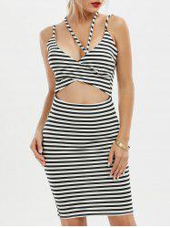 Stripe Cut Out Criss Cross Bodycon Dress