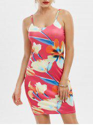 Fitted Floral Print Slip Bodycon Dress