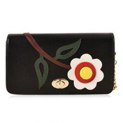 PU Flower Patch Crossbody Chain Bag