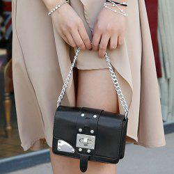 Chain Turnlock Mini Crossbody Bag - BLACK