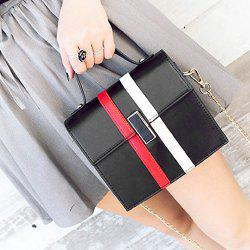 Contrast Stripe Chain Handbag - BLACK