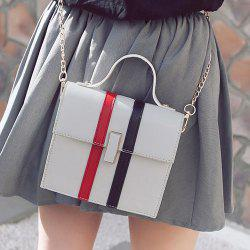 Contrast Stripe Chain Handbag - WHITE