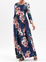 Pockets Long Floral Print Maxi Dress - DEEP BLUE
