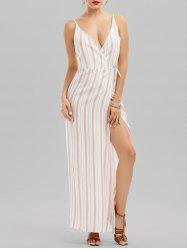 Cami Striped Backless Long Wrap Beach Dress