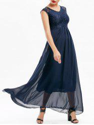 Lace Panel Long Bridesmaid Prom Formal Dress