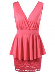 Double V Neck Crossover Lace Peplum Dress - WATERMELON RED