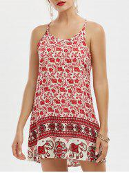 Tribal Print Sleeveless Mini Summer Dress - RED