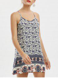 Tribal Print Sleeveless Mini Summer Dress - BLUE