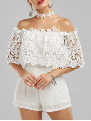 Off The Shoulder Crochet Lace Panel Romper - WHITE