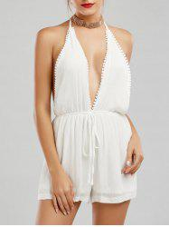 Plunging Neck Backless Halter Romper