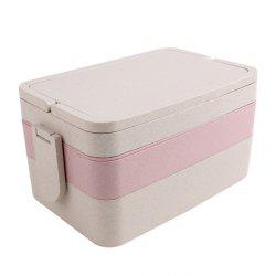 Wheat Straw Portable Large Capacity Three Layers Square Lunch Box