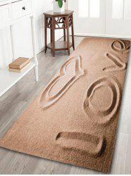 Beach Love Letter Coral Velvet Antislip Bath Rug - Brun Clair