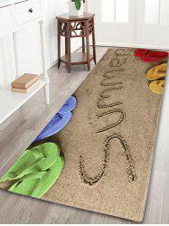 Coral Fleece Beach Letter Print Bath Area Rug