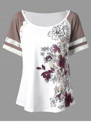 Floral Print Plus Size Scoop Casual T-shirt - WHITE