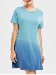 Mini Ombre Short Sleeve T Shirt Dress